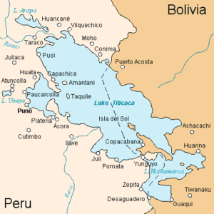 Map of Lake Titicaca showing Tiwanaku in lower right corner